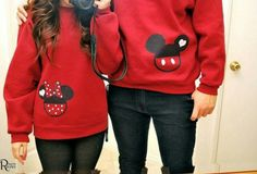 Couples disney mickey mouse/minnie mouse sweatshirts #goals
