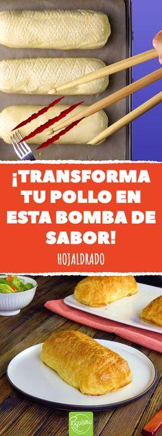 ¡Transforma tu pollo en esta bomba de sabor! Hojaldrado #pollo #hojaldre #cordonbleu #queso #jamon Kitchen Recipes, Baking Recipes, Food Dishes, Main Dishes, Beignets, Baked Gnocchi, Mexican Food Recipes, Ethnic Recipes, Dinner Entrees