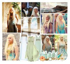 Daenerys Targaryen in Qarth by the-astonished-youth on Polyvore featuring polyvore, art, blood, daenerys targaryen, fire, dragons and game of thrones
