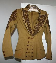 1870s Victorian Olive Braided Wool Jacket