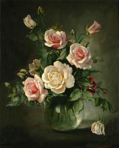 Flowers Painting by Cecil Kennedy - Site Title Art Floral, Parfum Rose, British Flowers, Creation Photo, Still Life Flowers, Still Life Art, Beautiful Paintings, Painting Inspiration, Flower Art