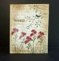 By Reddyisco at Splitcoaststampers. Uses Sizzix brick embossing folder, Local King background stamp, Technique Tuesday branch stamp, Kaisercraft bird stamp. Pretty!