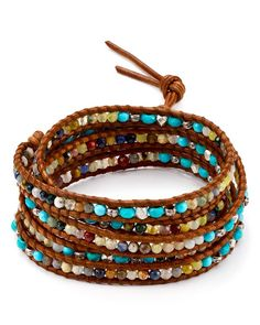 """A bright mix of semi-precious beads decorate Chan Luu's laidback-luxe leather bracelet.   Imported   32""""L with 2.5"""" extension   Button closure   Silver tone–plated metal/amethyst/amazonite/jasper/rose"""