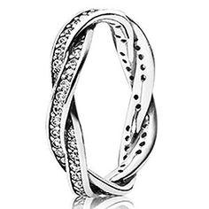 Pandora Twist Ring Clear CZ Sterling Silver Pandora twist of fate ring Tanzanite Engagement Ring, Rose Gold Engagement Ring, Vintage Engagement Rings, Pandora Bracelets, Pandora Jewelry, Jewelry Rings, Silver Jewelry, Silver Rings, Pandora Beads