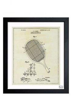 Free shipping and returns on Oliver Gal 'Tennis Racket Blueprint' Framed Print at Nordstrom.com. Pulled from the Patent Office archives, this print of a retro tennis racket makes a cool design accent, professionally framed for a modern, graphic effect.