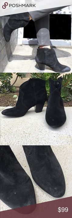"Ash Jalouse suede ankle boots Suede ankle boots. Slightly pointed toe, slip on style. Stacked 2.5"" heel. Gently worn and very comfy. Great staple for every gals closet! Ash Shoes Ankle Boots & Booties"