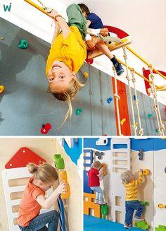 """Kinder brauchen zum Aufbau ihrer #Gesundheit mehr #Bewegung als Erwachsene: mindestens zwei Stunden täglich! Mit #Klettern können sie eigene Kräfte entwickeln und sich selbst mit Spaß und Freude hangelnd """"in den Griff"""" bekommen. https://shop.wehrfritz.de/de_DE/klettern-hangeln/bewegung-sport/schule-hort/c/sh_bewsp_klettern?zg=schule_hort&nav=navnode-cat_schule_hort-sh_bewsp_klettern_7.2.1434315130705&ref_id=60847 #Krippe #Schule"""