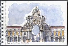 os meus desenhos: Bilhetes postais de Lisboa. O Arco da Rua Augusta. Fernanda Lamelas