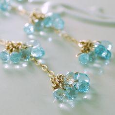 Long Blue Topaz Earrings Genuine Semiprecious Gemstone Delicate Wire Wrapped Dangle Gold Jewelry