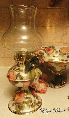 """38смЛатун.лампа(маслян.,керосиновая)""""Английские розы"""" - Лампы, Освещение, Для дома и интерьера. Ярмарка Мастеров - ручная работа, handmade"""