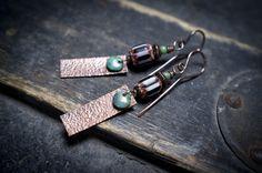 tribal earrings  African chevron glass bead  by entre2et7 on Etsy