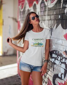Excited to share the latest addition to my #etsy shop: Camping Makes Me Happy Tee - Ladies Short Sleeve Camping T-Shirt https://etsy.me/2IBJQrt #clothing #women #tshirt #camping #womenstee #campingtshirt #campingtee #happiness #outdoors