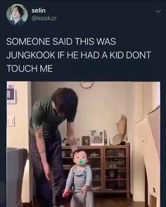 jungkook as a father makes me warm inside🥰 Kookie Bts, Bts Bangtan Boy, Bts Taehyung, Jungkook Cute, Jikook, Bts Memes Hilarious, Bts Funny Videos, Jung So Min, Bts Love