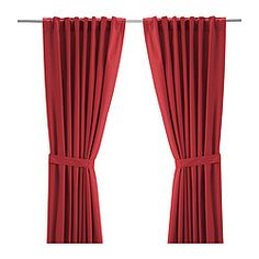 RITVA Curtains with tie-backs, 1 pair, red $34.99 The price reflects selected options Article Number: 302.109.16 The curtains lower the general light level and provide privacy by preventing people outside from seeing directly into the room. Read more Size 57x118'
