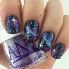 yet another try at galaxy nails! this is one of my favorite designs to do! i usually start with a black base and put color on top. instead this time i started with amethyst anc! every time i try this design i love how it turns out even more than last time! practice definitely makes perfect (or at least improvement)  #nail #nails #nailart #nailitmag #naildit #nailsoftheday #instanails #nailstagram #notd #nailartist #nailtech #galaxynails #anc #ancnails #naturalnails #nailsbyme #galaxy #stars…