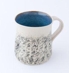 Blue handmade mug, Large coffee Mug, handmade tea cup, Cappuccino Cup, Stoneware mug, wheel thrown Cup, Pottery ceramic mug, Birthday gift  Handmade pottery by Kari Ceramics