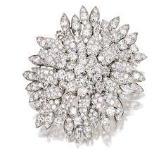 A Platinum and Diamond Brooch, Van Cleef & Arpels, New York, Circa 1960