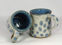 Blue and white spotted stoneware mugs - handmade pottery £16.00