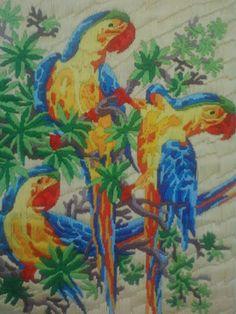DIY:: Long stitch - Parakeets :)