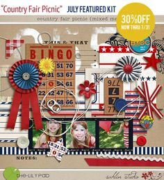"Fourth of July Patriotic Digital Scrapbook Element Kit ""Country Fair Picnic"" by Sahlin Studio"