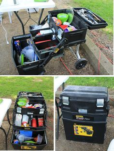 (This is my awesome Chuck Box for camping. It's a Stanley Fatmax tool box that I filled with my favorite camping kitchen essentials. So much easier to find things than digging through my old plastic bins.  ..  by original pinner  ..)   ..this looks like a good idea-contained and with wheels...