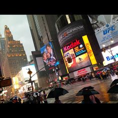 Time Square under rain at 18:00 August 15, 2012
