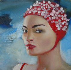 Coco in her bathing cap by Janet Hill
