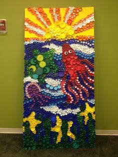 "Our completed bottle cap ""Sea Life Mural"""