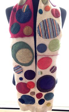 Crazy Cashmere Dotty Scarf - made from 100% Cashmere Recycled Sweaters in beige and jewel tones on Etsy, $90.00