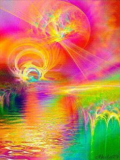 everyday a different color, beautiful gifs, soft goth, nature. images that I like and attract my attention. I hope you'll find images here for your taste too. HAVE FUN ! Art Visionnaire, Gifs, Acid Art, Gif Pictures, Scenery Pictures, Water Reflections, Gif Animé, Visionary Art, Psychedelic Art