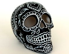 Ceramic Sugar Skull Hand Painted Day of the Dead Roses Sacred Heart Black White Dia de los Muertos Sculpture - READY TO from SewZinski. Saved to Gifts. Pintura Sugar Skull, Sugar Skull Painting, Sugar Skull Art, Ceramic Painting, Sugar Skulls, Sugar Skull Images, Mexican Skulls, Mexican Folk Art, Skull Hand