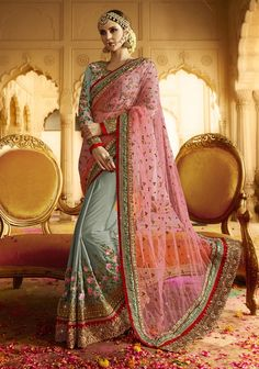 Pink & Grey latest Indian half and half sadi with floral embroidered blouse M16232