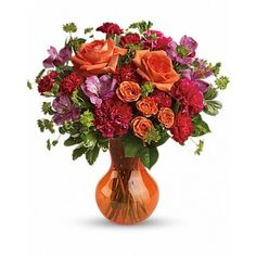 Juicy orange and fuchsia blooms are a fancy-fun way to celebrate that special someone. This beautiful bouquet of fresh, sherbet-hued flowers is presented in our orange Serendipity vase - a heartwarming gift all year long! Fast Flowers, Summer Flowers, Congratulations Flowers, Get Well Soon Flowers, Send Flowers Online, Anniversary Flowers, Wedding Anniversary, Online Florist, Same Day Flower Delivery