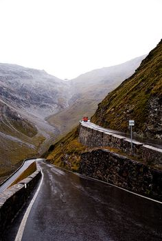 Road in the Stelvio Pass in the Italian Alps.