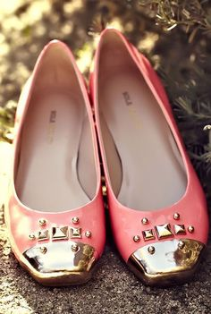 Pink Leather Ballet Flats <3