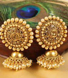 Buy Lovely designer pearl-purple partywear jhumkkas jhumka online Gold Jhumka Earrings, Indian Jewelry Earrings, Jewelry Design Earrings, Gold Earrings Designs, Antique Earrings, Jhumka Designs, Hoop Earrings, India Jewelry, Jewelry Bracelets