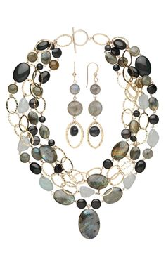 Multi-Strand Necklace and Earring Set with Labradorite and Rainbow Obsidian Gemstone Beads - Fire Mountain Gems and Beads