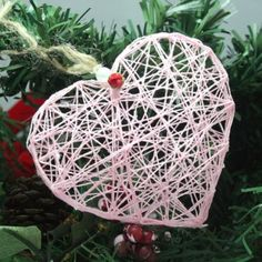 Romantic DIY String Heart Ornament - Shelterness