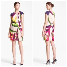 Max Mara SS 2014 Collection: MaxMara 100% silk exotic print dress with cap sleeve and purple skinny leather belt.  Price on request.