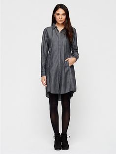 Classic Collar Knee-Length Shirtdress in Tencel Cotton Denim