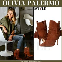 Olivia Palermo in olive green shirt and browns suede ankle boots