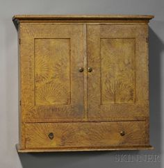 Paint-decorated Pine Paneled Wall Cupboard | Sale Number 2608M, Lot Number 1343 | Skinner Auctioneers