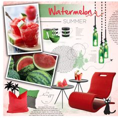 Fruit Series: Watermelon by nyrvelli on Polyvore featuring interior, interiors, interior design, home, home decor, interior decorating, Artextural, Epicurean, Kate Spade and Waechtersbach