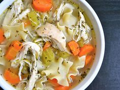 Best Chicken Noodle Soup Recipe: 2 Tbsp olive oil 1 medium yellow onion 3 cloves garlic ½ lb. carrots ½ bunch celery 2 split chicken breast (bone-in) 1 tsp dried basil 1 Tbsp dried parsley ½ tsp dried thyme 1 whole bay leaf 10-15 cranks cracked pepper 1 Tbsp salt 6 oz. egg noodles