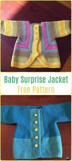 Knit Baby Surprise Jacket Free Pattern - Knit Baby Sweater Outwear Free Patterns #babyjackets #knitting #knittingpatternsbaby