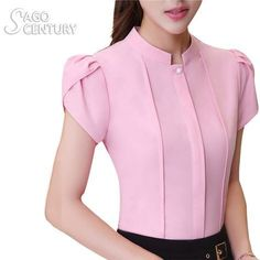 2017 Fashion Women Summer Career Green Shirt Short Sleeve Elegant Blouse Plus Office Female Slim Formal Stand Neck Top Ladies Shirts Formal, Formal Blouses, Formal Wear Women, Formal Tops For Women, Western Dresses For Women, Office Dresses For Women, Women's Summer Fashion, Fashion 2017, Fashion Outfits