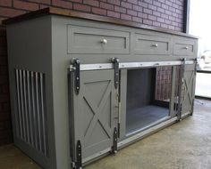 Rustic Dog Crate with Drawers - Sliding barn doors / crate with storage / Dog House / rustic furniture / farmhouse pet / dog kennel - Muebles metal - Dog Crate Furniture, Farmhouse Furniture, Rustic Furniture, Metal Dog Kennel, Diy Dog Crate, Cat Window, Dog Rooms, Crate Storage, Wood Storage