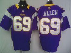 Men's Nike NFL Minnesota Vikings #69 Jared Allen Purple Elite Jersey