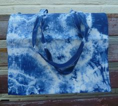 Navy Blue Tie Dyed Tote Bag Pure Cotton Shopping by FatassDesigns, £5.99