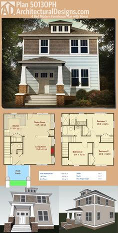 Architectural Designs Four Square House Plan 50130PH gives you 3 beds, all upstairs, and an open floor plan on the main floor. Over 1,300 square feet of heated living space is spread evenly across the two floors. Ready when you are. Where do YOU want to build?